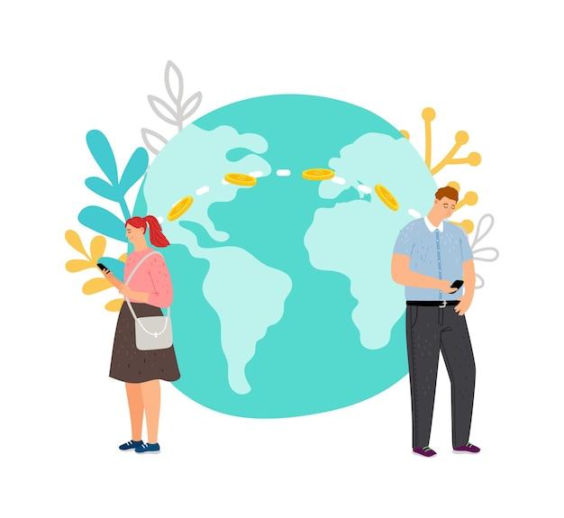Transferencia de dinero internacional. chico transfiere dinero a chica usando ilustración de vector de banco móvil