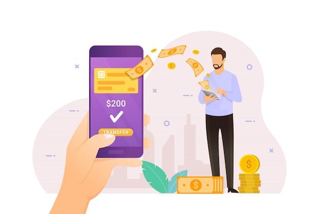 Transferencia de dinero en línea con banca móvil