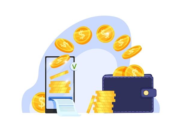 Transferencia de dinero en línea o pago seguro por internet financiero