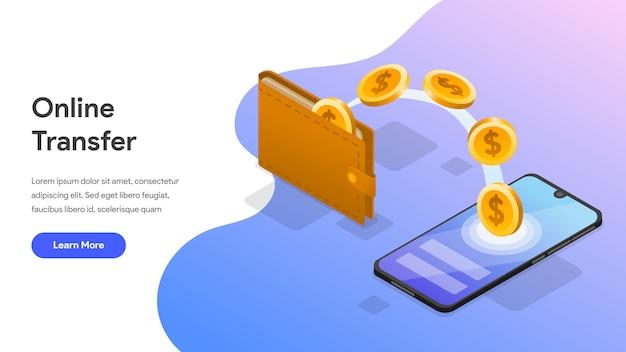 Transferencia de dinero en línea con teléfono móvil isométrica