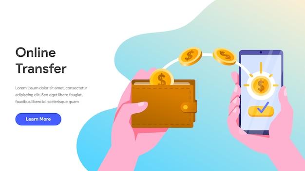 Transferencia de dinero en línea con teléfono móvil
