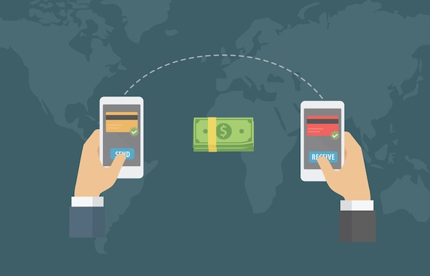 Transferencia de dinero en línea en todo el mundo