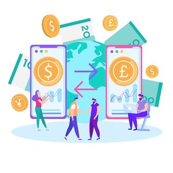 Transferencia de dinero móvil vector de dibujos animados plana banner