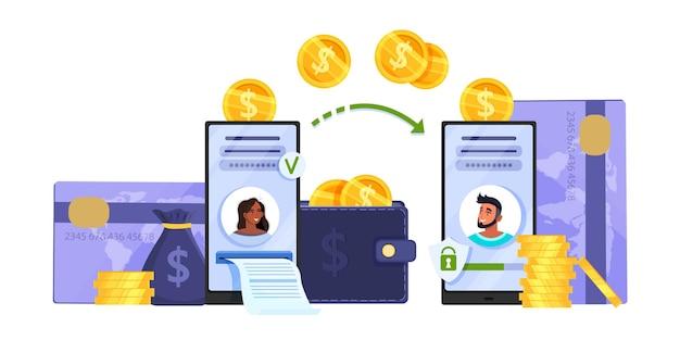 Transferencia de dinero o concepto de transacción móvil en línea con teléfonos inteligentes, tarjetas de crédito, monedas.
