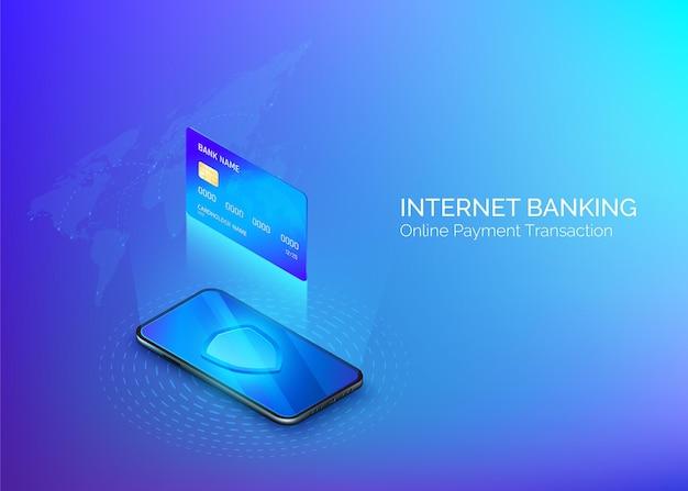 Transferencia de dinero o pago online. servicio bancario online. compras por internet.