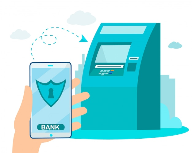 Transferencia de dinero segura a través de banca electrónica, servicios de cajero automático
