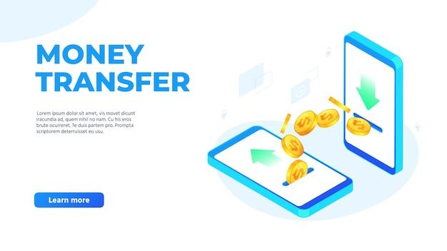 Transferencia de dinero en teléfonos móviles. monedas de un dólar volando de un teléfono inteligente a otro. enviar y recibir dinero de forma inalámbrica, ilustración de vector de página de destino de la aplicación de pago bancario