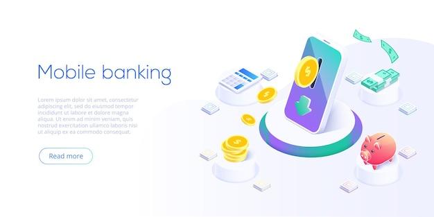 Transferencia de dinero vía celular en diseño isométrico. pago digital o servicio de devolución de dinero en línea. concepto de transacción de banca móvil. retirar depósito con teléfono inteligente.
