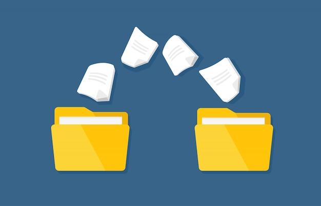 Transferencia de documentación. vector carpetas planas con archivos de papel.