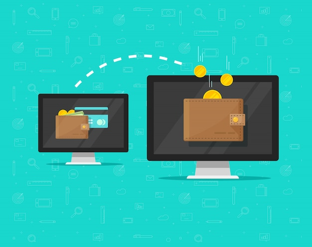 Transferencia electrónica de dinero en línea de dibujos animados plana