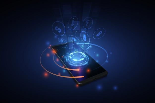 Transferencia internacional de divisas, pago a través de un teléfono inteligente utilizando un teléfono inteligente del concepto de dinero