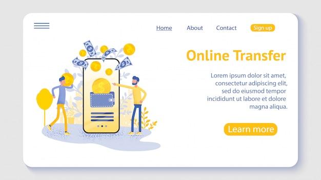 Transferencia en línea con la mano que sostiene el teléfono inteligente y presione el botón enviar, plantilla, web, póster, pancarta, aplicación móvil, interfaz de usuario.