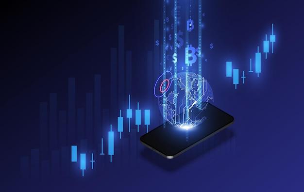Transferencia de moneda internacional, pago a través de un teléfono inteligente con un teléfono inteligente ilustración vectorial del concepto de dinero