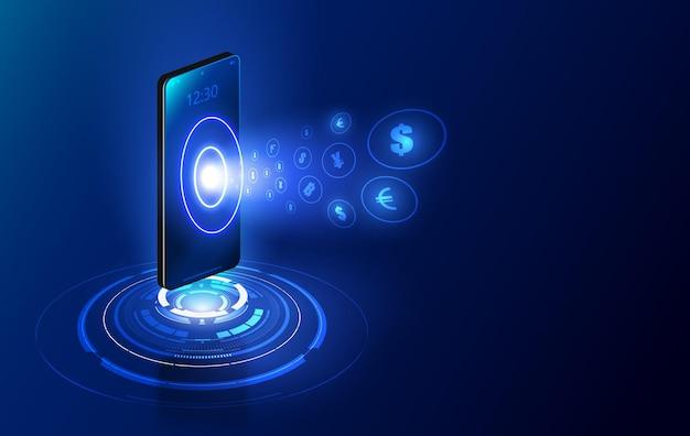 Transferencia de moneda internacional, pago a través de un teléfono inteligente usando un teléfono inteligente