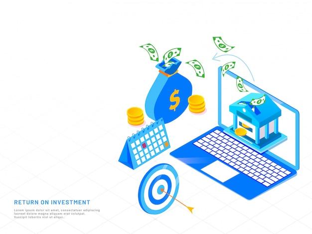 Transferencia o guardado de dinero en línea, diseño isométrico.