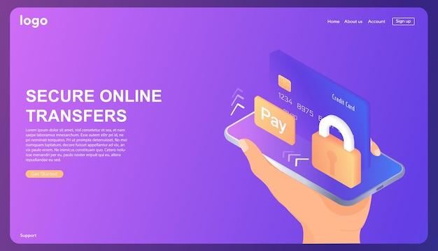 Transferencias seguras en línea cuenta bancaria en línea protección de datos base de datos isométrica con servidor en la nube