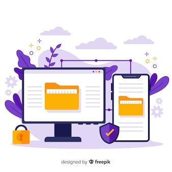 Transfiera el concepto de archivos para la página de destino