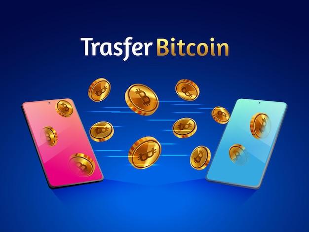 Transfiera criptomonedas bitcoin doradas con un teléfono inteligente