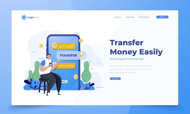 Transfiera dinero fácilmente utilizando una aplicación financiera móvil en el concepto de página de destino