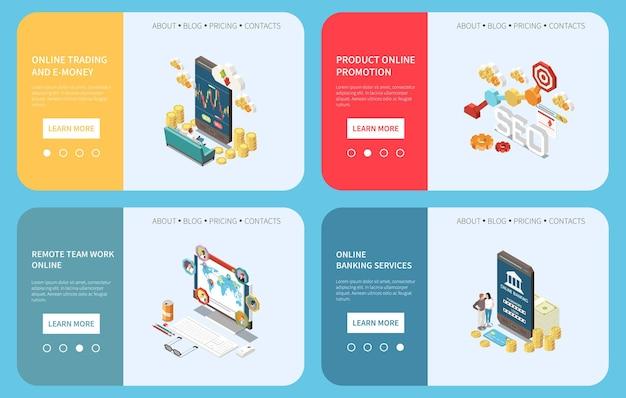 Transformación digital en banca comercial y conjunto de banners horizontales de trabajo.