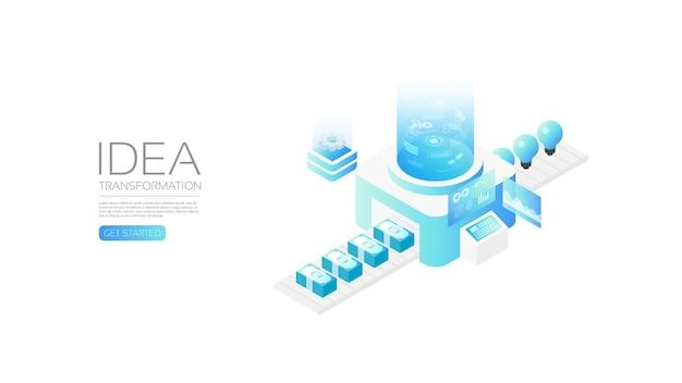 Transformación de idea isométrica, concepto de negocio, transformación de idea