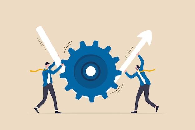 Transformación o mejora empresarial, flujo de trabajo de ejecución para aumentar la productividad y la eficiencia, concepto de beneficio de la inversión, socio empresario que ayuda a girar la rueda dentada del engranaje para hacer que la flecha se eleve.