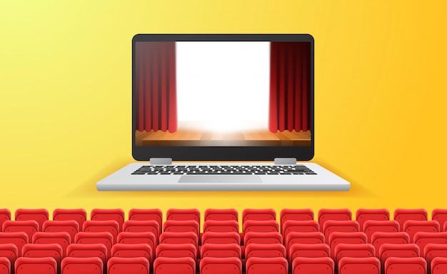 Transmisión de cine, video y películas en línea con concepto de dispositivo en casa. espectáculo de escenario de cortina roja en la pantalla del portátil con asientos rojos vacíos. fondo amarillo