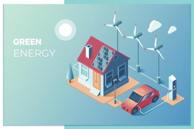 Transmisión de energía solar y eólica para su uso en el hogar.