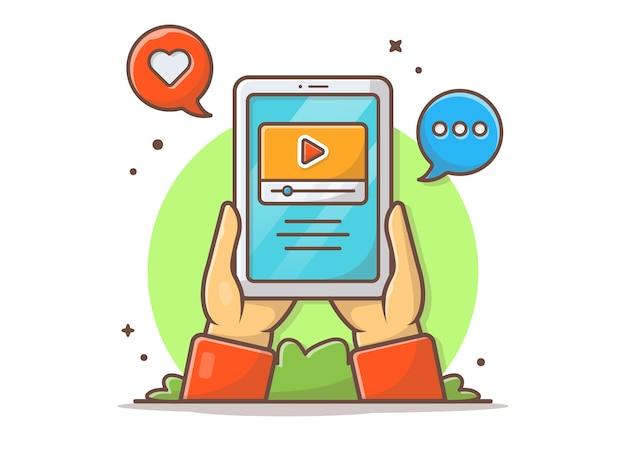 Transmisión de video en línea en la ilustración del icono de vector de tableta