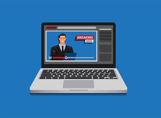 Transmisión de video de noticias de última hora en línea en concepto de computadora portátil en la ilustración de dibujos animados