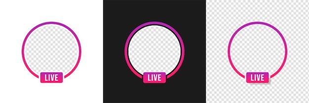 Transmisión de video en vivo de instagram, maqueta de cuadros