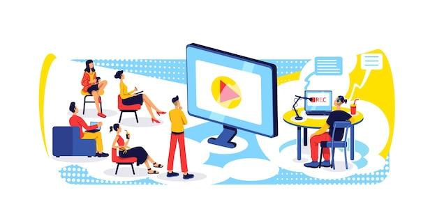 Transmita y grabe el concepto plano de podcast. entretenimiento con contenido de internet. presentador de espectáculos en línea y personajes de dibujos animados en 2d de la audiencia para el diseño web. idea creativa del webinar