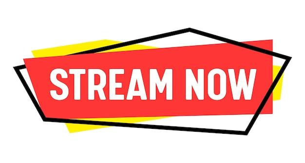 Transmitir ahora banner, transmisión de video en vivo o transmisión de noticias de radio, emblema de pantalla de transmisión de tv. canal en línea de podcast, etiqueta de evento en vivo o icono aislado sobre fondo blanco. etiqueta vectorial lineal
