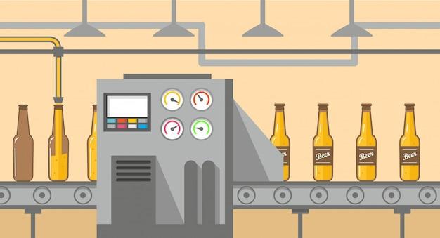 Transportador de cervecería vertiendo cerveza en botellas de vidrio. embotellado de alcohol.