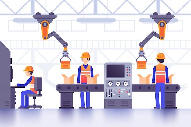 Transportador de fábrica de fabricación inteligente. fabricación industrial moderna, ilustración de línea de máquinas de fábrica controladas por computadora