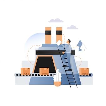 Transportador de fábrica con ilustración de cajas de cartón