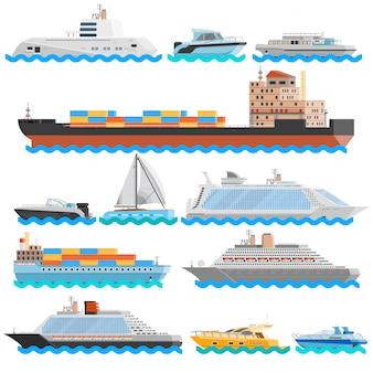 Transporte acuático plano conjunto de iconos decorativos