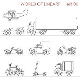 Transporte aéreo por carretera moto bicicleta patada scooter motor avión al conjunto de estilo de arte lineal.