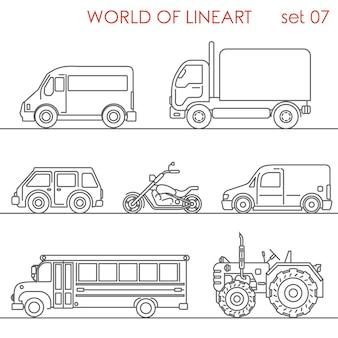 Transporte aéreo carretera moto tractor autobús escolar al lineart set. colección de arte lineal.
