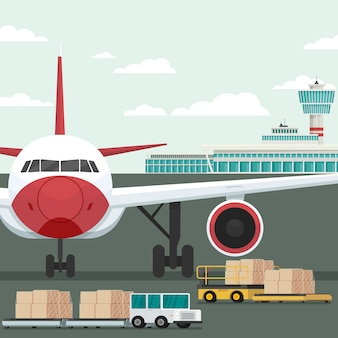 Transporte de avión de carga y carga en el aeropuerto. concepto vector illustration
