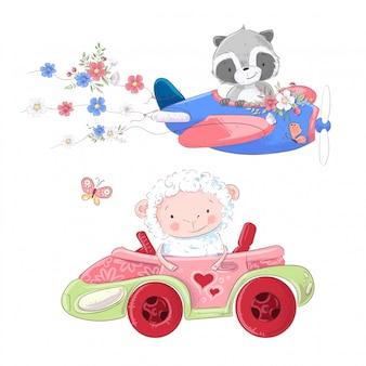 Transporte de avión y carro convertible a mano estilo dibujo.