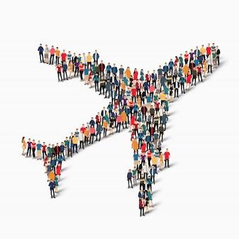 Transporte de aviones de grupo de personas
