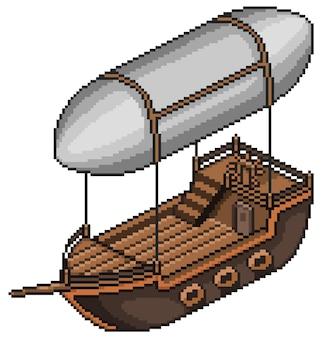Transporte de barco volador de pixel art para juego de bits