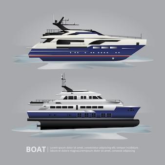 Transporte barco yate turístico para viajar ilustración vectorial