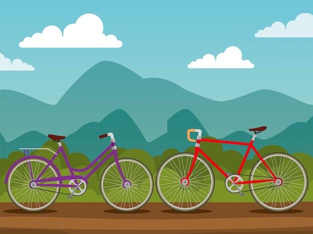 Transporte de bicicletas con rueda y cadena.