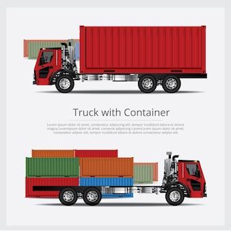 Transporte de camiones de carga con contenedor
