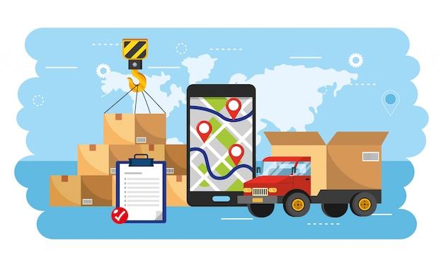 Transporte en camioneta con teléfonos inteligentes gps y paquetes de cajas.