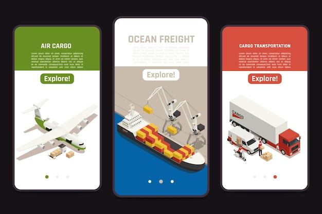 Transporte de carga 3 pantallas móviles isométricas con ilustración de camioneta de entrega de camiones de transporte de carga de buques de transporte aéreo