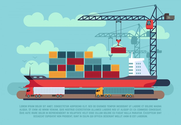Transporte de carga de buques de mar cargando contenedores