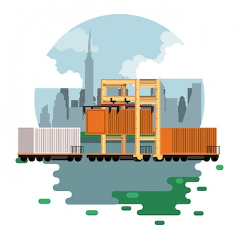 Transporte carga mercancía logística dibujos animados